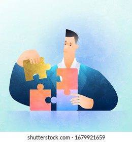 Business solution concept. Businessman solving jigsaw puzzle figuring out what is best. Business vector illustration.