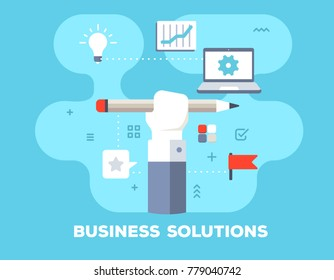 Business solution concept on blue background with title. Vector illustration of big human hand holds pencil, laptop, light bulb and icons. Flat style design for web, banner, business presentation