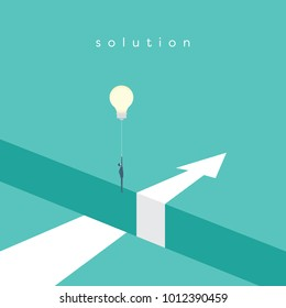 Business solution with creative idea vector concept. Businessman flying with lightbulb balloon over hole. Eps10 vector illustration.