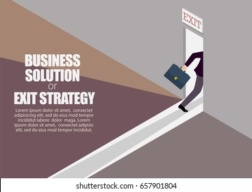 Business solution or exit strategy infographic. Businessman runs to the exit door