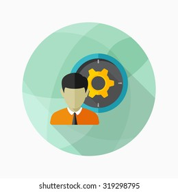 Business solution icon, vector illustration. Flat design style with long shadow,eps10