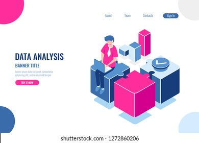Business solution isometric, formulation and execution of task by steps and parts, planning and effective work concept, man with laptop sit on puzzle, flat vector illustration