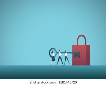 Business solution teamwork vector concept. Business team colleagues unlock padlock with key. Symbol of cooperation, problem solution, new opportunities. Eps10 vector illustration.