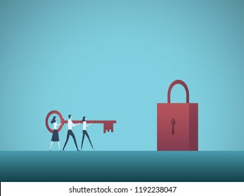 Business solution vector concept. Businessman and businesswoman carry key to padlock. Symbol of achievement, cooperation, teamwork. Eps10 vector illustration.