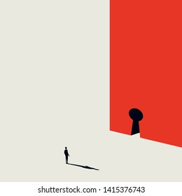 Business solution vector concept with businessman and keyhole. Minimalist art style. Symbol of opportunity, creative solution, challenge. Eps10 illustration.
