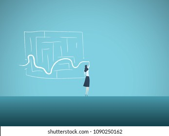 Business solution vector concept with business woman finding way through maze. Symbol of genius, intelligent woman, challenge, opportunity, planning, strategy. Eps10 vector illustration.