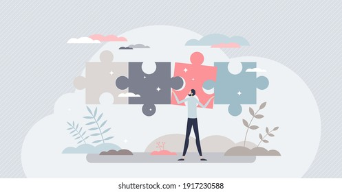 Business solutions and difficult problem solving process tiny person concept. Find project missing parts and complete for goal success vector illustration. Smart work decision and choice from leader.