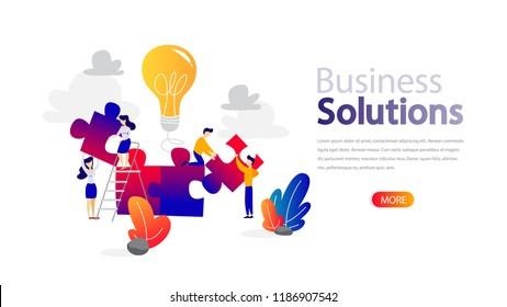 Business solutions horizontal banner for your website. Header for web page. Responsive app design. Teamwork and brainstorm concept. Flat vector illustration