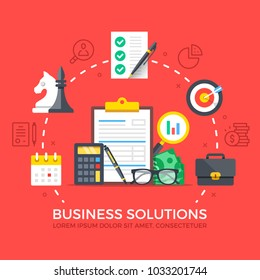 Business solutions. Modern flat design style graphic elements. Thin line icons set and flat icons set for web banners, websites, infographics, printed materials. Premium quality. Vector illustration