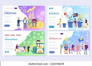 Business solutions,  planning and strategy, startup, time management vector illustration. Set of web page design templates.  Mobile website development design