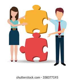 Business solutions and teamwork graphic design, vector illustration