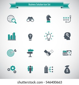 Business Solutions - vector icon set.