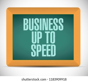 Business up to speed blackboard communication message concept isolated over a white background