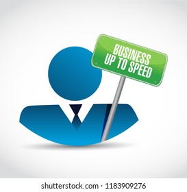 Business up to speed businessman communication message concept isolated over a white background