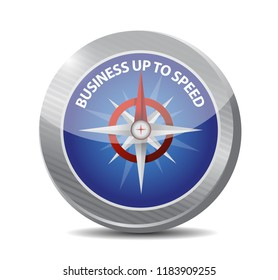 Business up to speed compass sign concept illustration isolated over a white background