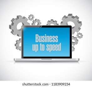 Business up to speed computer technology message concept illustration isolated over a white background