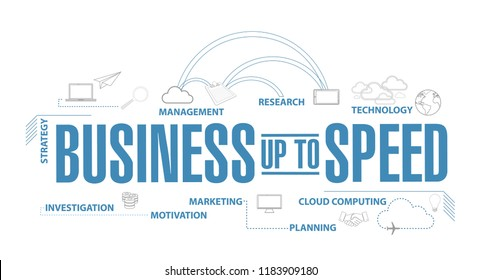 Business up to speed diagram plan concept isolated over a white background