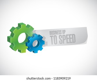 Business up to speed gear message sign isolated over a white background