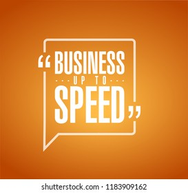 Business up to speed line quote message concept isolated over a orange background