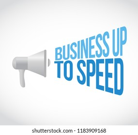 Business up to speed loudspeaker message concept isolated over a white background