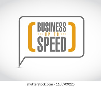 Business up to speed message bubble isolated over a white background