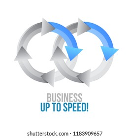 Business up to speed. moving together cycle concept sign isolated over a white background