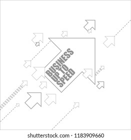 Business up to speed multiple arrows following a leader concept, isolated over a white background