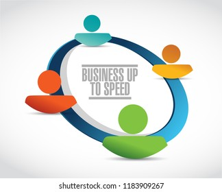 Business up to speed network diagram contacts illustration isolated over a white background