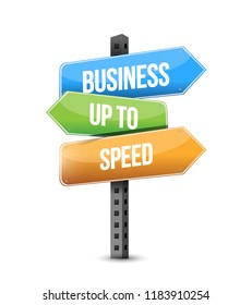 business up to speed street sign
