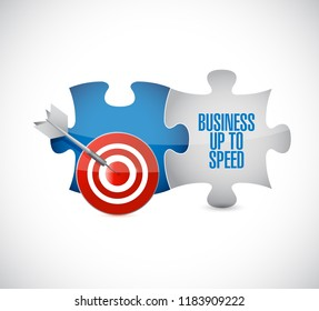 Business up to speed target puzzle pieces message isolated over a white background