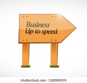 Business up to speed Wood street sign message concept isolated over a white background
