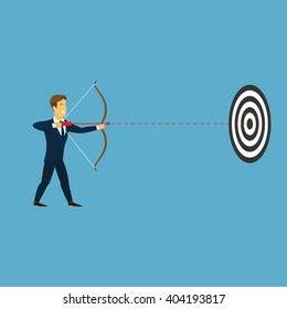 Business sport archer background. Stylish businessman in a blue suit and red tie. Business target and goal concept. Businessman directs an arrow on black and white round goal. Vector. Logo. Icon.
