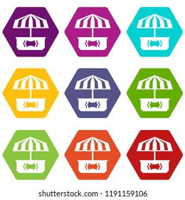 Business stall icons 9 set coloful isolated on white for web