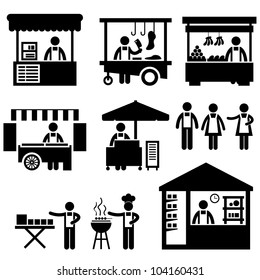 Business Stall Store Booth Market Marketplace Shop Icon Symbol Sign Pictogram