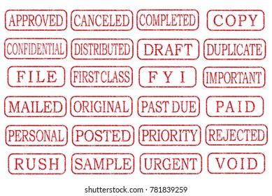 business stamp illustration set.