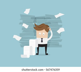 business standing and reading long bill, report vector illustration