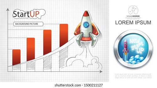 Business start up colorful concept with cartoon rocket launch and bar chart drawing on paper sheet vector illustration