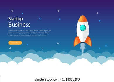 Business start up concept design with rocket and space symbol. Modern flat website page for website and mobile. Vector template illustration