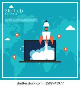 Business start up concept with rocket. Flat design vector illustration