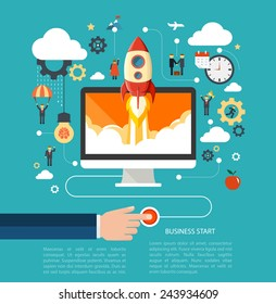 Business start up concept with rocket. Flat design vector illustration with humans, gears and development icons.