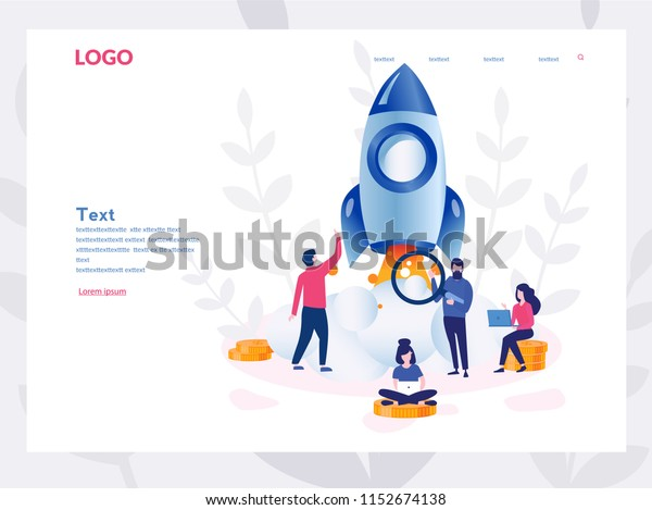 Business Start Up Concept for web page, banner, presentation, social media. Vector illustration, business project startup process, idea through planning and strategy, time management, realization