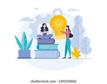Business and Start up design.Vector illustration.Start Up with light bulbes in the flat style. Woman holding giant glowing electric light bulb. Concept of innovative idea. Young Woman and Books