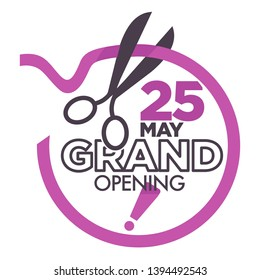 Business start grand opening ceremony isolated icon ribbon and scissors vector event celebration cutting silk stripe emblem or logo traditional ritual shop or store work beginning stationery tool