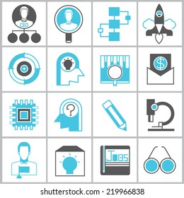 business start up icons set, organization management icons, blue and black color theme