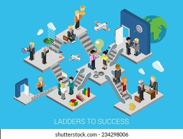 Business start, ladders to success flat 3d isometric design infographic concept template vector illustration. Creation development growth movement insurance partnership HR target trophy promotion.
