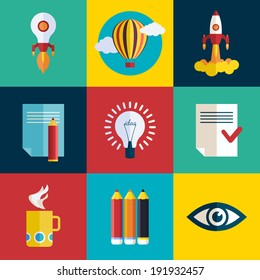 Business Start up launch concept. Flat trendy rocket start up icons set