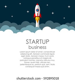 Business start up vector concept. Launching new project. Rocket heads into space.