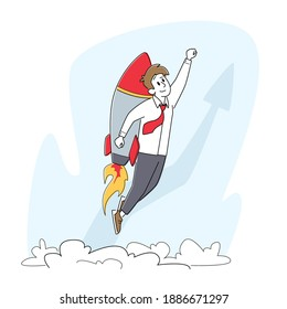 Business Startup, Career Boost, and Growth Concept. Cheerful Businessman Flying Off with Jet Pack. Office Worker Character Flying Up by Rocket on Back, Start UpTake Off. Linear Vector Illustration