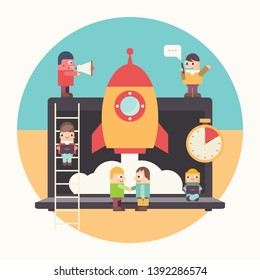 Business Startup. Cartoon Men Have an Idea. Cohesive Teamwork in the Startup. Vector Illustration for Web Page, Banner, Social Media and Landing Page. Square Format. Retro Colors.