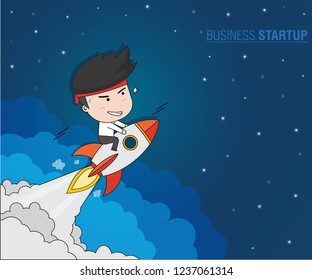 Business Startup Concept, Businessman on rockets launch into the night sky